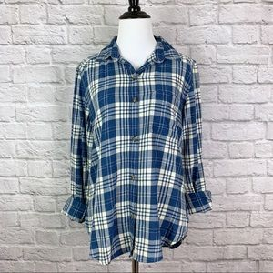 AE Plaid Button Down Shirt Small Boyfriend Fit